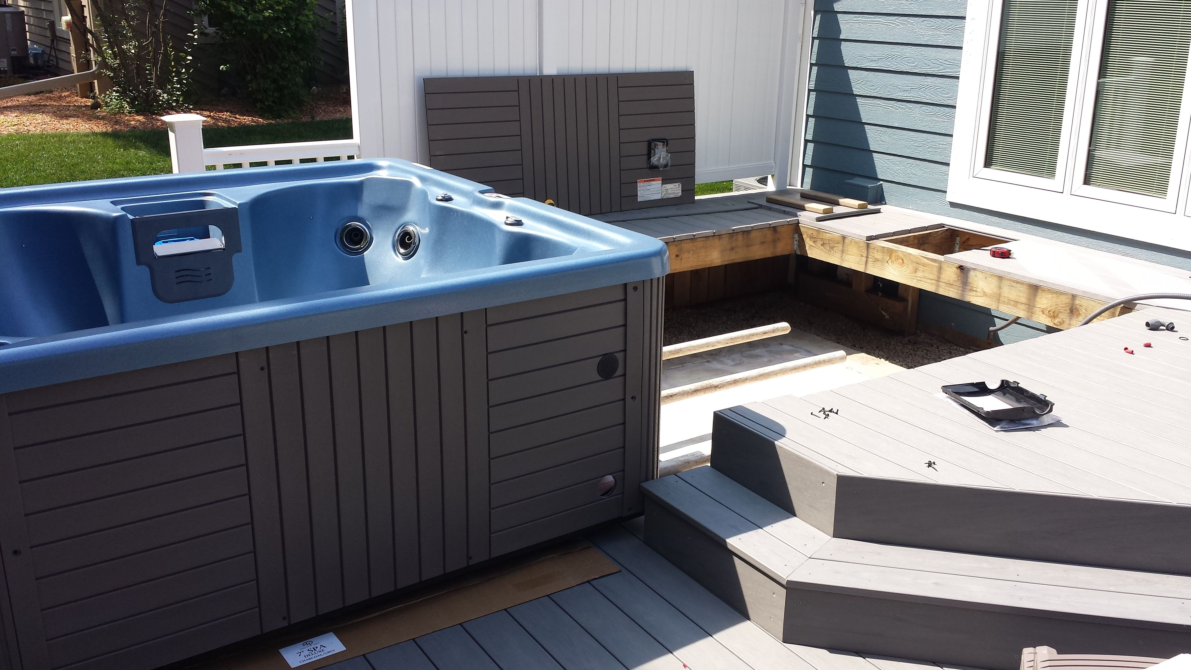 Here is a Master Spas Clarity Series being installed into a deck.