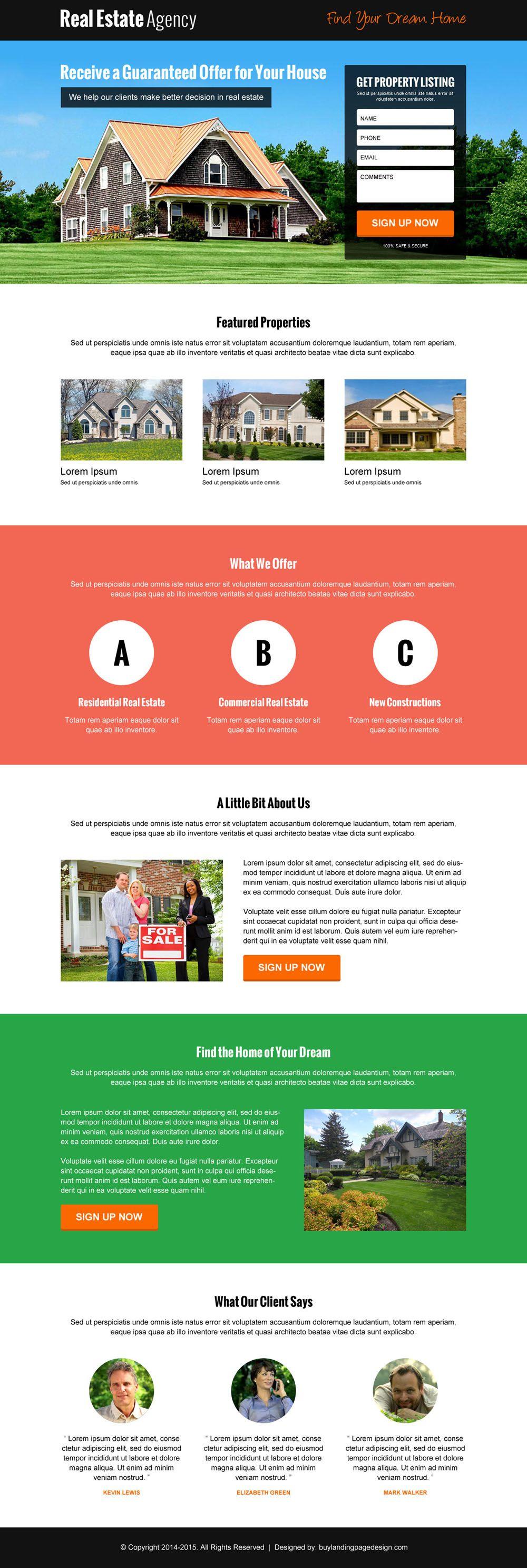 Best Real Estate Agency Lead Gen Reslp 7 Real Estate Responsive Landing Page Desig Landing Page Examples Real Estate Landing Pages Real Estate Website Design