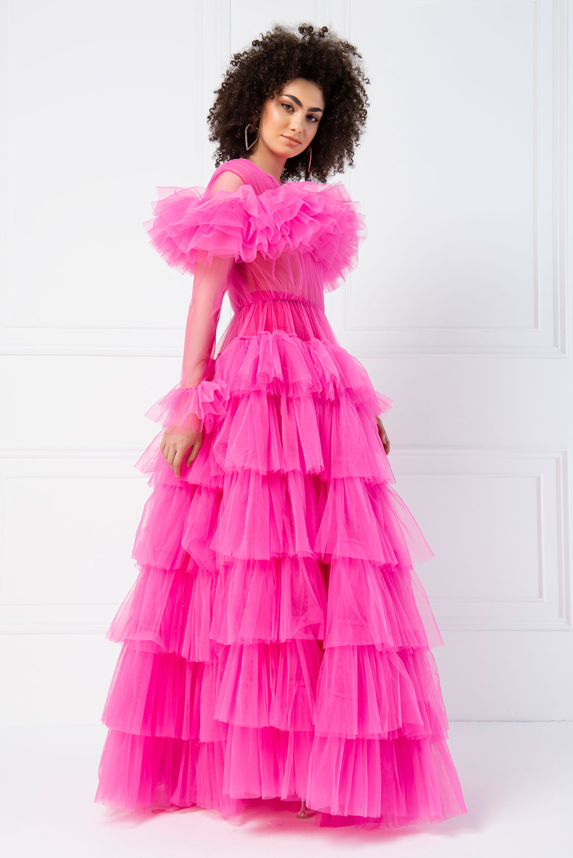Ruffle Sheer New Fuschia Maxi Dress Dresses Maxi Dress Maxi Dress With Sleeves [ 1498 x 1000 Pixel ]