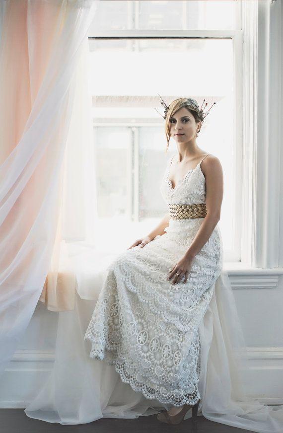 Vintage Layered Lace Wedding Dress, Low Back Wedding Dress, Boho ...