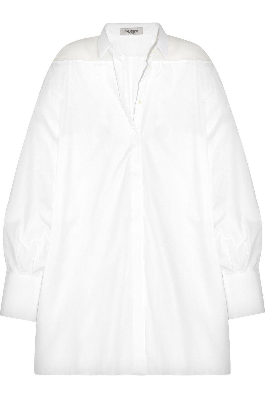 Valentino Oversized silk organza-paneled cotton-poplin shirt NET-A-PORTER.COM