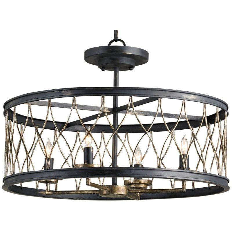 Currey and Company 9902 French Black  Pyrite Bronze Crisscross Convertible 4 Light Single Tier Chandelier  Flush Mount Ceiling Fixture