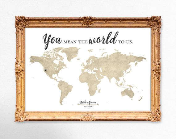 World Map Guest Book Sign Printable,Vintage Wedding GuestBook Sign,Rustic Wedding Signs,Custom Wedding Signage,Watercolor Map,Gold Foil Map