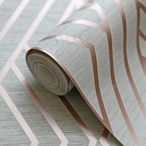 Geometric Wallpaper Grey and Rose Gold Pear Tree UK30506 images