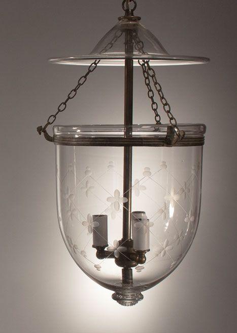 Pair Antique Bell Jar Lanterns With Glass Pontils And Trellis Etching Jar Lanterns Antique Bell Jar Pendant Light