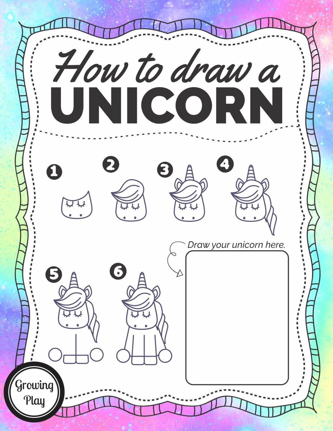 How To Draw A Unicorn Free Printable Drawing Pinterest