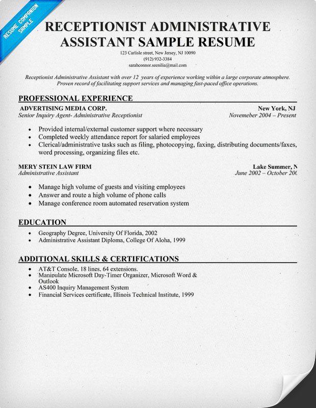 Administrative Assistant Resume Sample Resume Companion Resume Writing Tips Administrative Assistant Resume Resume Objective