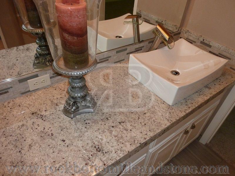 Bianco bahia 18x26 granite mini slabs recently used in this beautiful  bathroom remodel. Bianco bahia 18x26 granite mini slabs recently used in this
