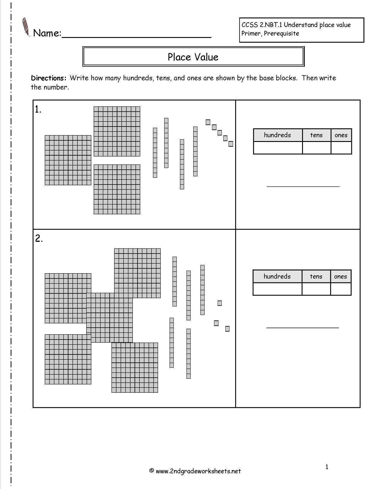 Second Grade Place Value Worksheets Base Ten Blocks