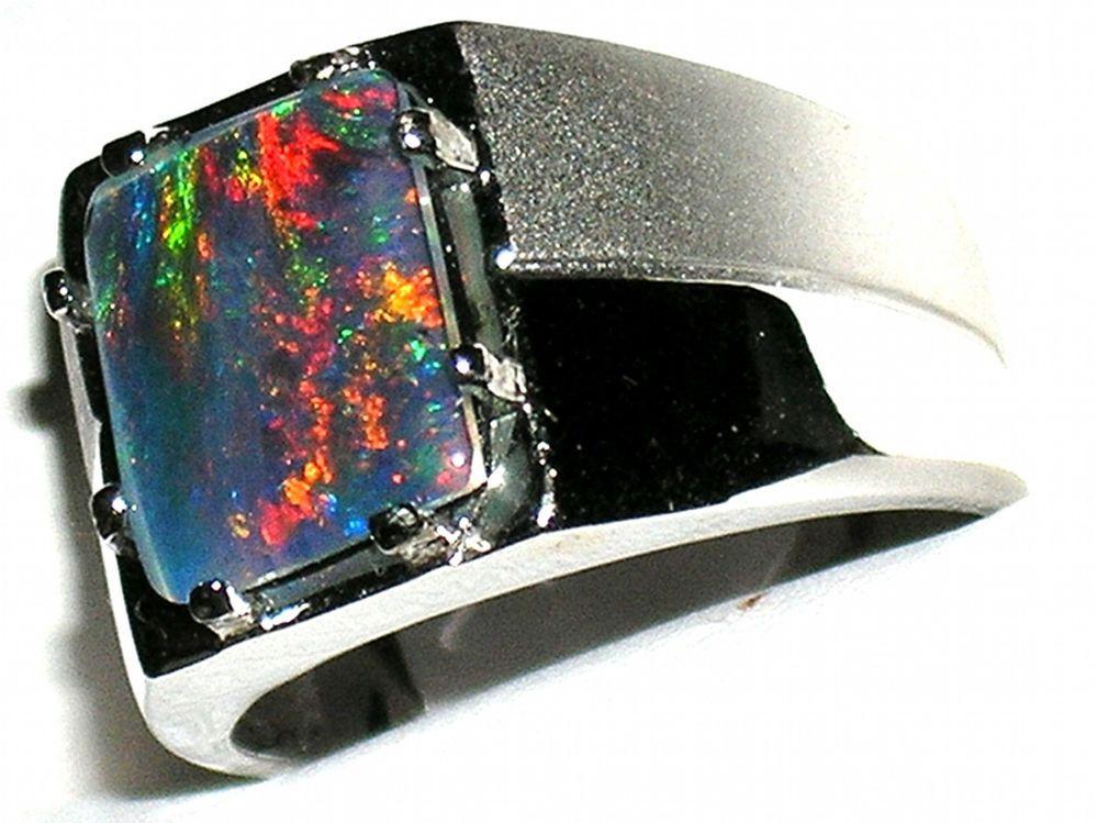 Men S Australian Opal Stainless Steel Ring Hypoallergenic