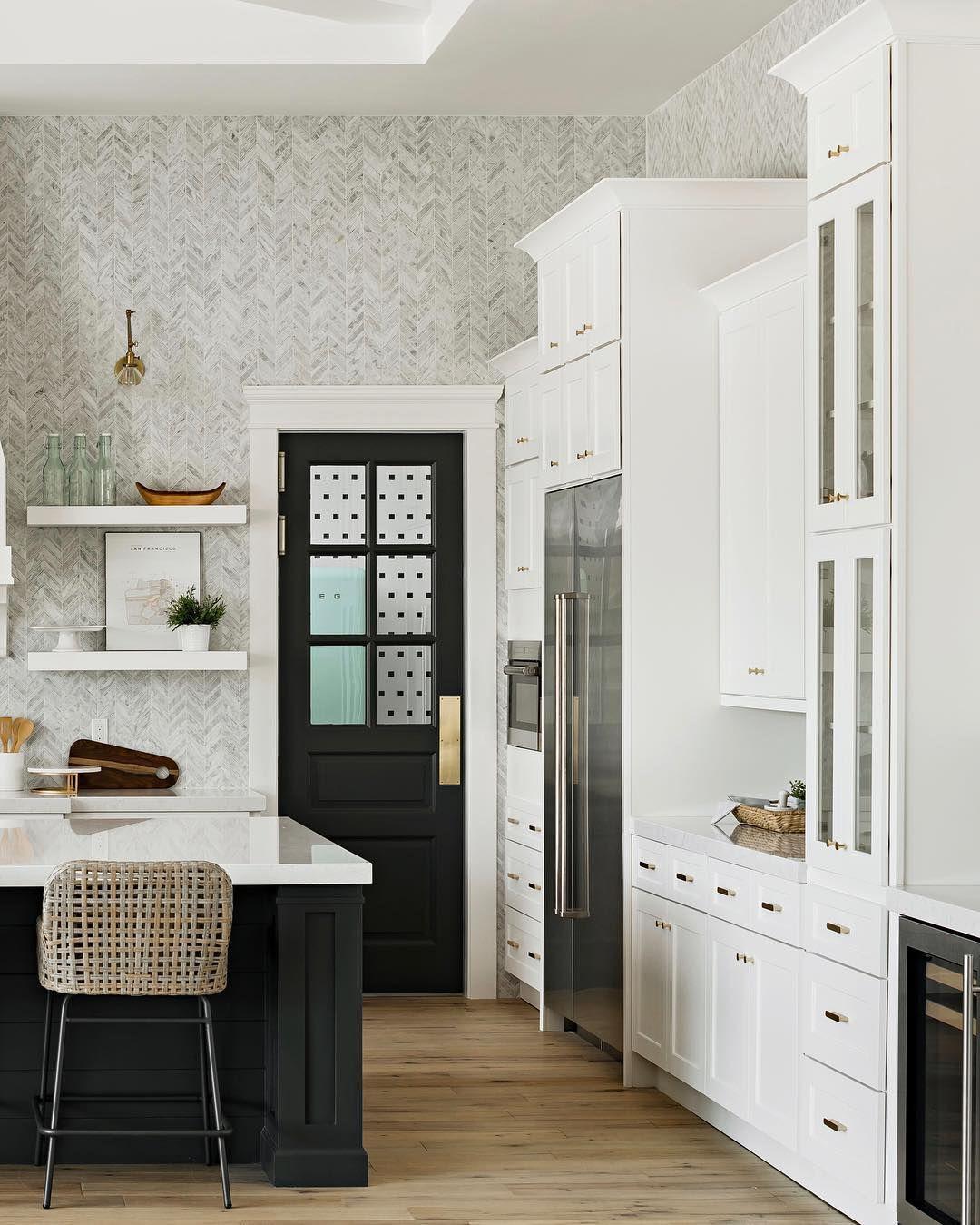 Glass door cabinets, floating shelves, and floor to ...