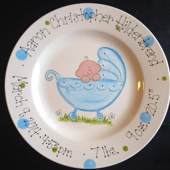 Hand Painted Baby Plate Sweet Baby In Baby Carriage For Boy Or