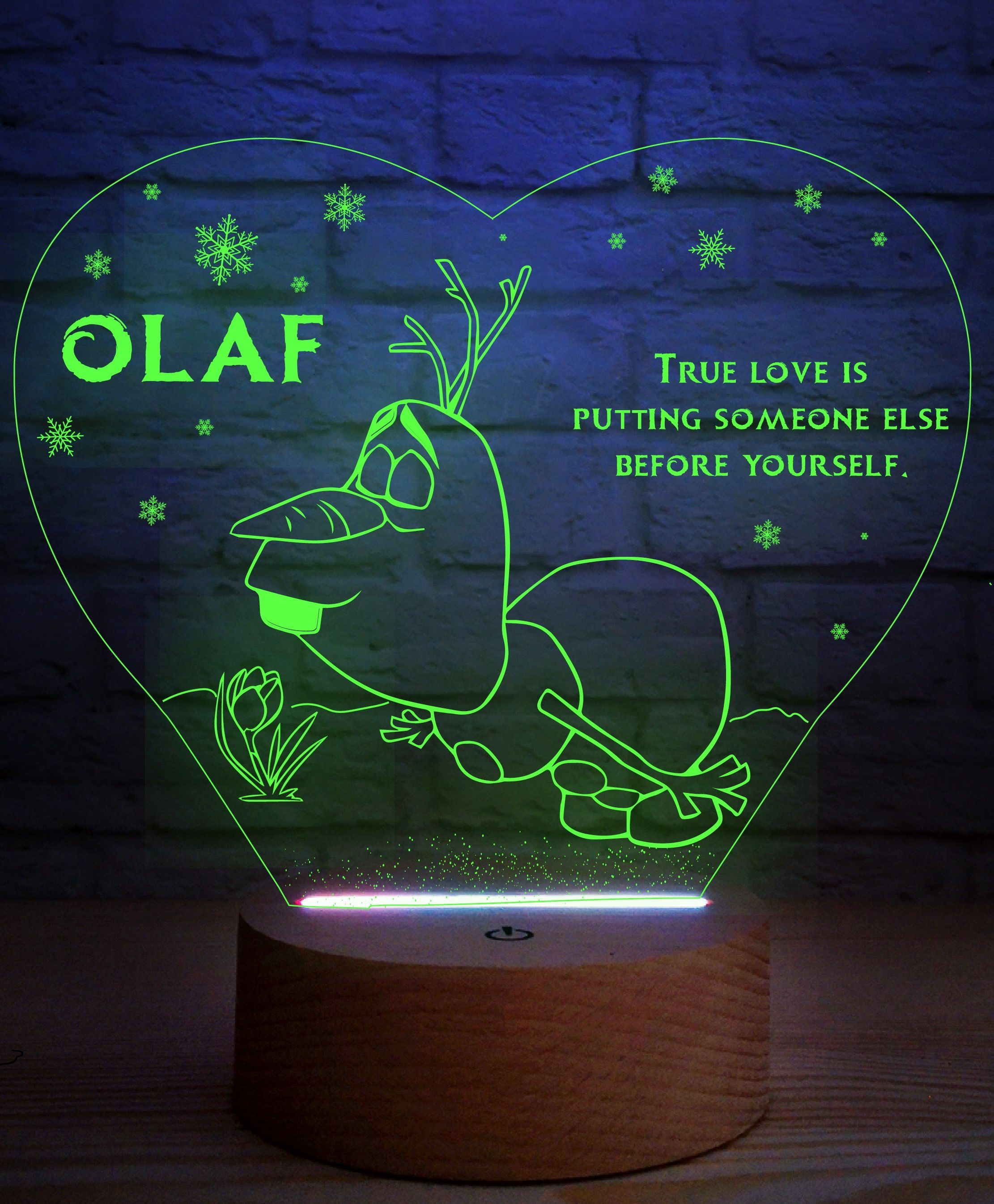 Olaf Night Lamp With Romantic Saying 3d Led Lamp Olaf Snowman Etsy Night Lamps Frozen Room 3d Led Lamp
