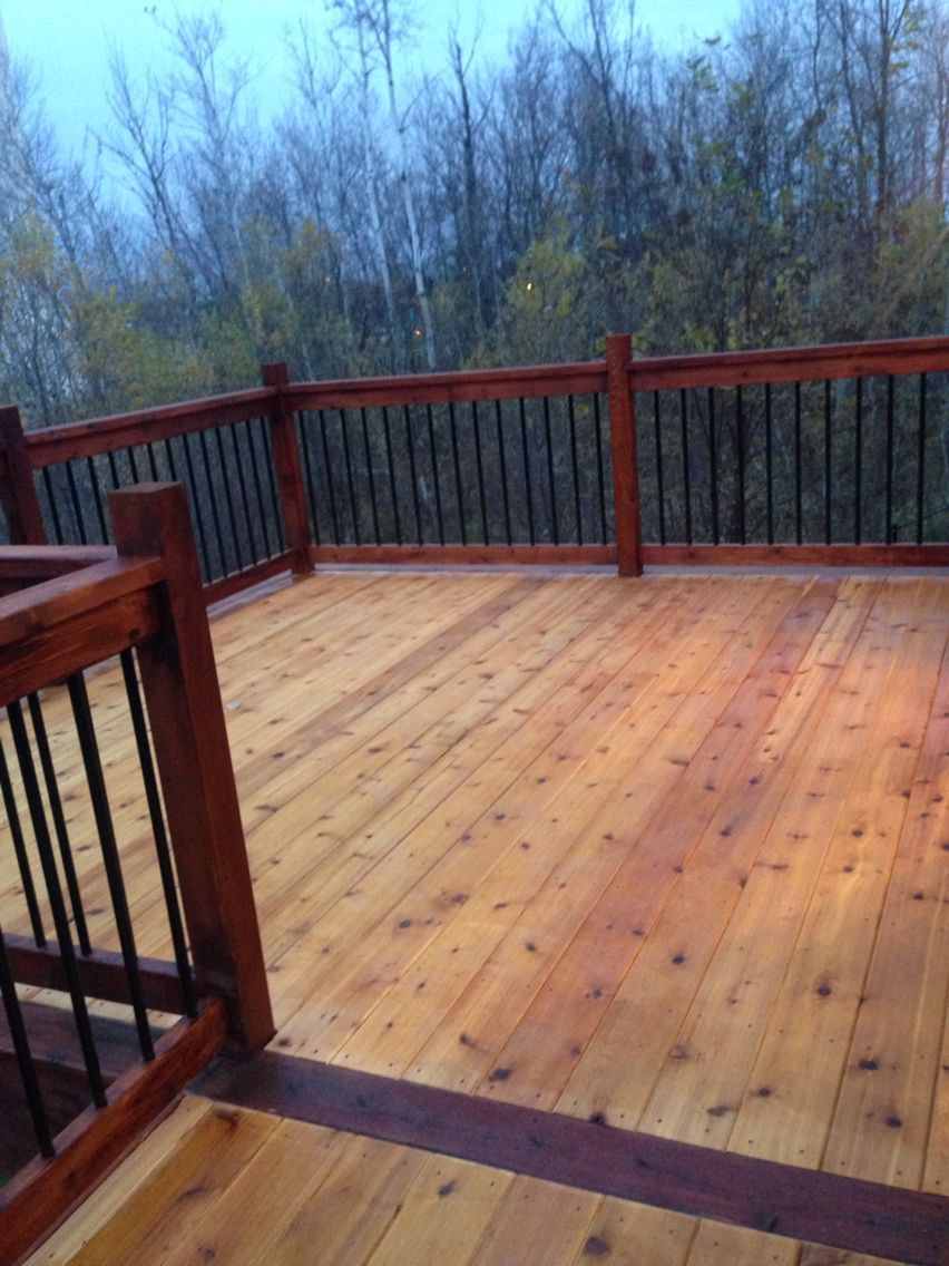 Two Tone Stain On Our Deck Turned Out Nice Deck Stain Colors Staining Deck Deck Paint
