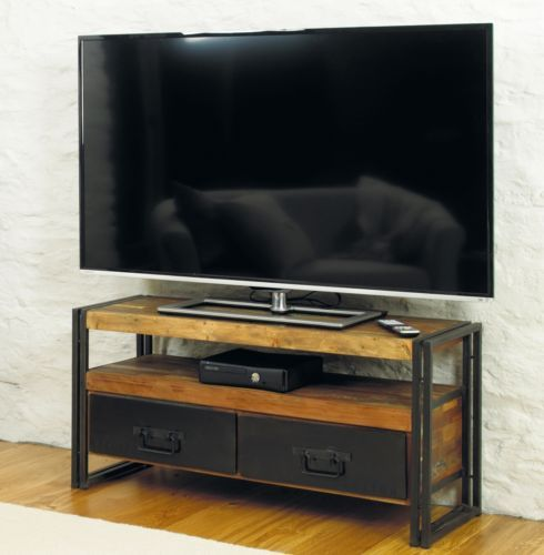 Urban Chic solid reclaimed wood widescreen living room television cabinet unit | eBay