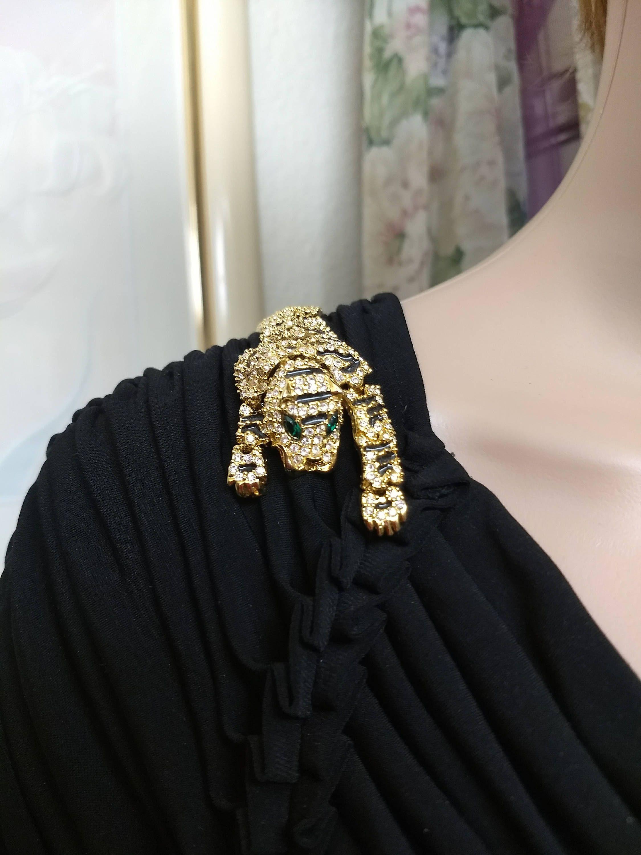 a14f1deb1 SWAROVSKI Crystal Articulated Tiger Shoulder Brooch ~ Faceted Crystal  Rhinestone Hinged Bengal Tiger Statement Brooch ~ Figural Tiger Brooch by  ...