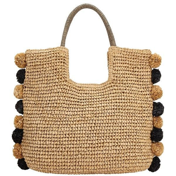 John Lewis Pom Straw Grab Bag Black Neutral 40 Liked On Polyvore Featuring Bags Handbags Faux Leather Special Occasion