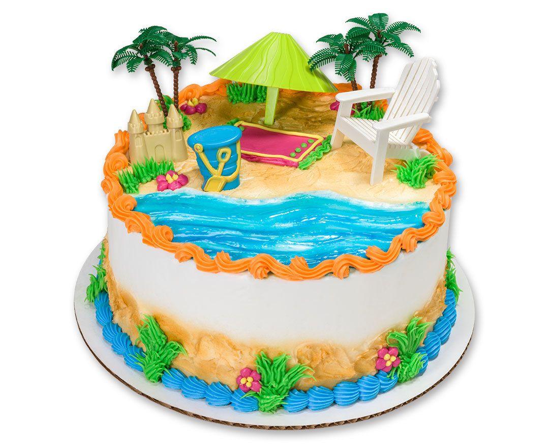 Plastic Cake Topper Kit For Hawaiian Birthday Sheet Cake