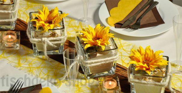 Tischdeko In Gelb Und Braun Fur Die Herbstliche Tischdeko Deko