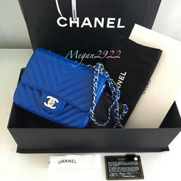 Blue Klein Square Mini Chevron Flap Bag w  silver hardware  1fe8ceb832d4b