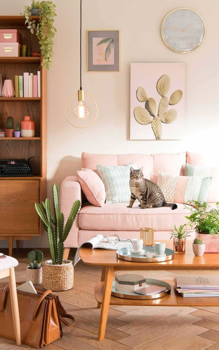 nice 20 green living room with blush pink sofa  pink