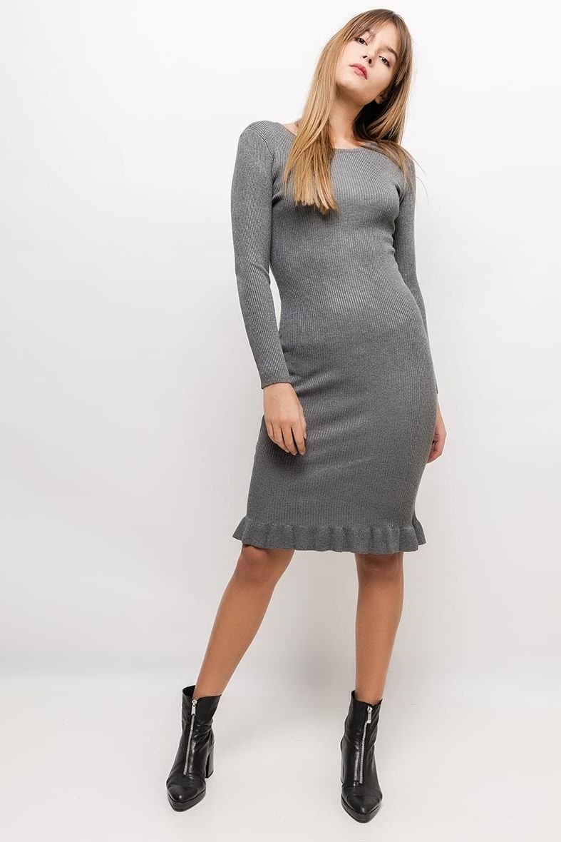 a9711cf161d8 Krátke sivé šaty s dlhým rukávom - Rouzit.sk