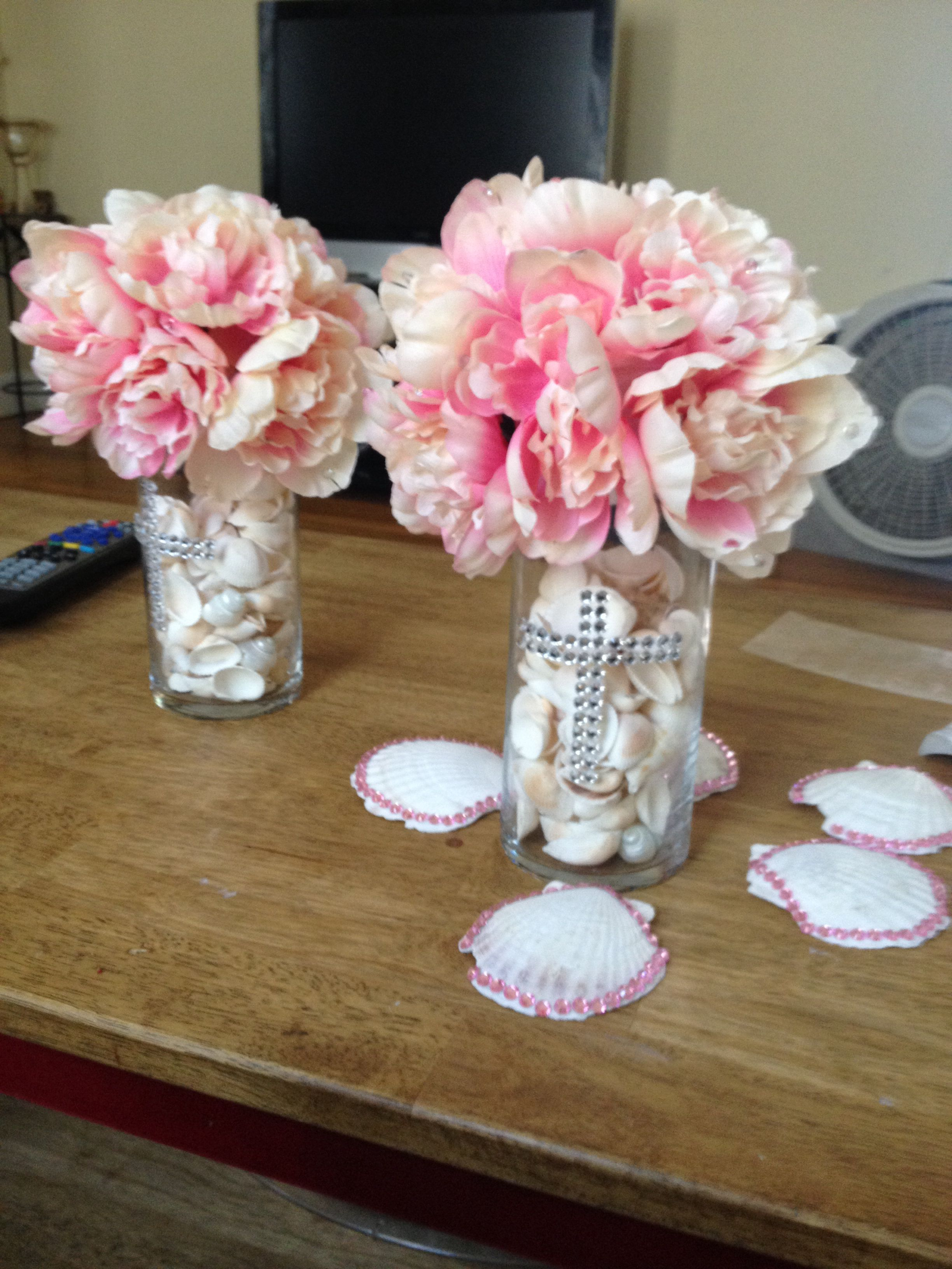 DIY baptism centerpiece bought most of it at doller tree ...