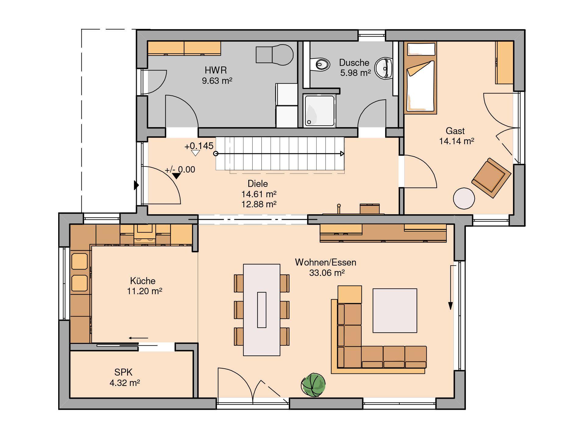 Bauhaus Futura von KernHaus Haus grundriss, Bauplan