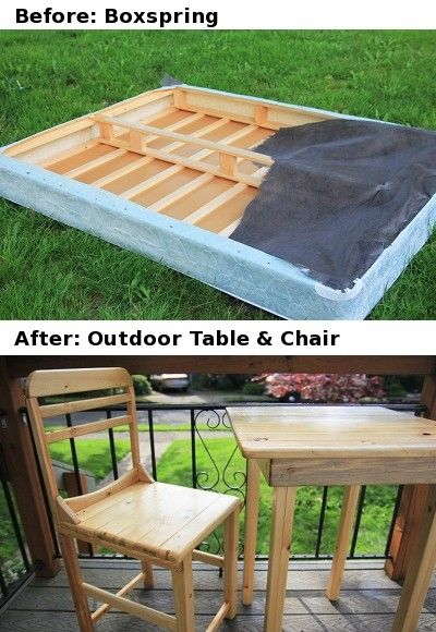 diy box spring turned into table and chair another great project and awesome re purpose of an. Black Bedroom Furniture Sets. Home Design Ideas