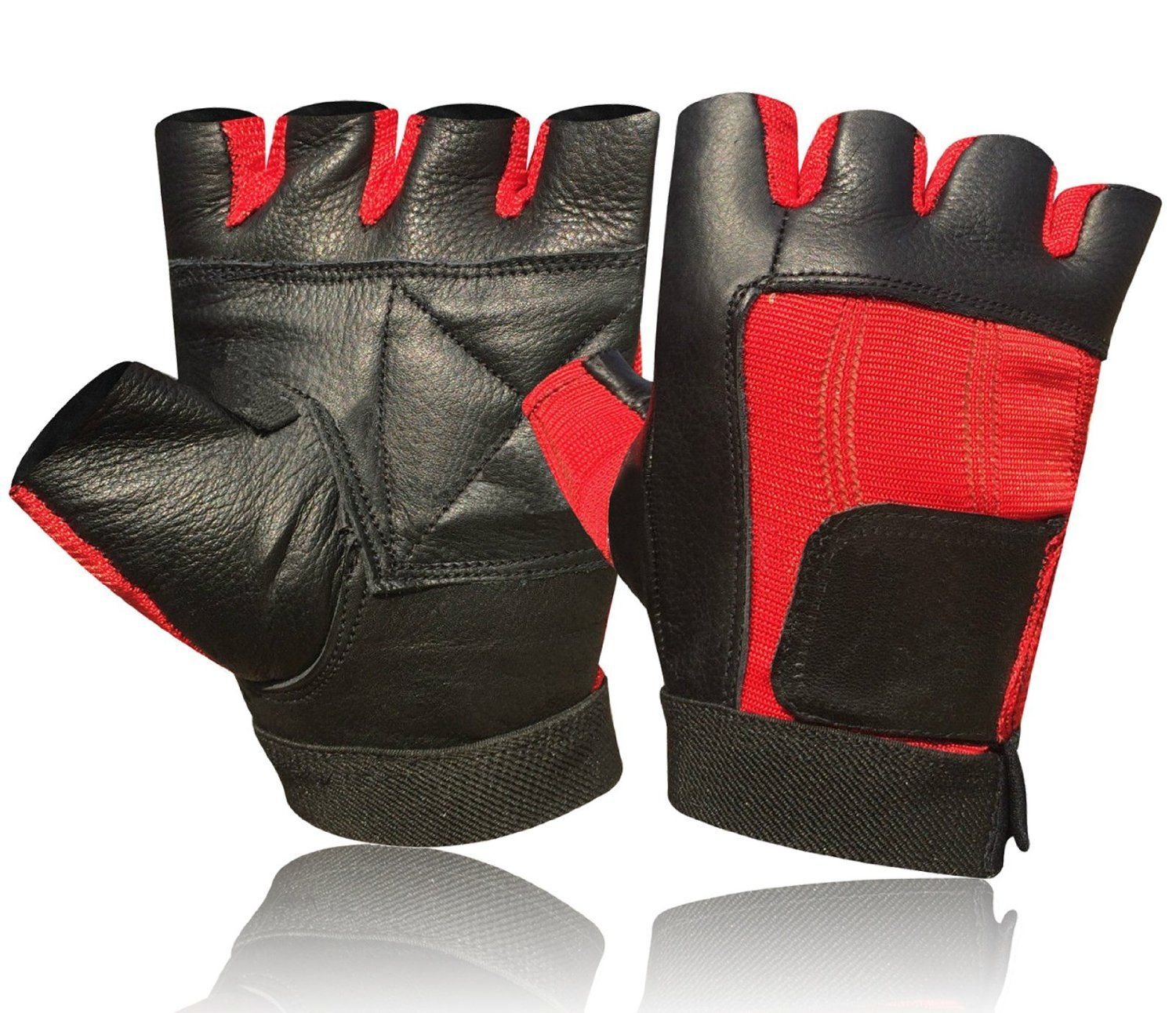 9689f8fcf83ef Amazon.com : Weight Lifting Padded Leather Gloves Fitness Training ...
