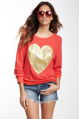 Gold Sparkle Heart Sweater | Haute Look