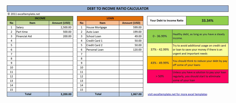 Debt To Income Ratio Calculator Debt To Income Ratio Spreadsheet Template Bookkeeping Templates