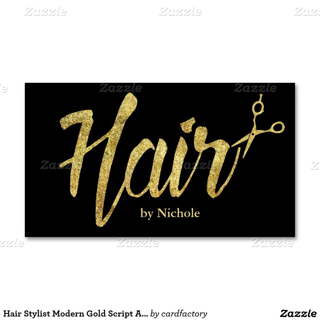 Hair Stylist Modern Gold Script Salon Appointment | Appointments ...