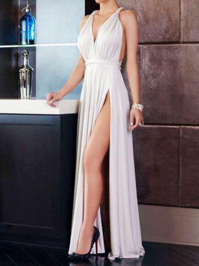 Grecian maxi dress with thigh splits