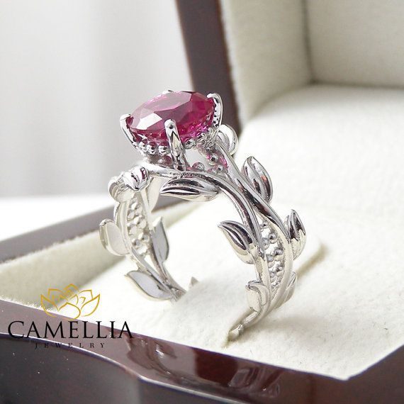 14K White Gold Engagement Ring White Gold Ruby by CamelliaJewelry