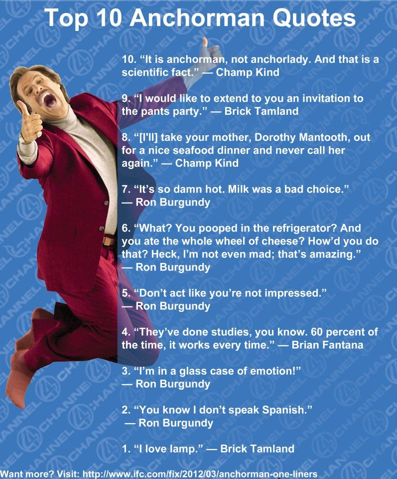 Lmao!! I LOVE ANCHORMAN AND RON BURGANDY, AND BAXTER OF