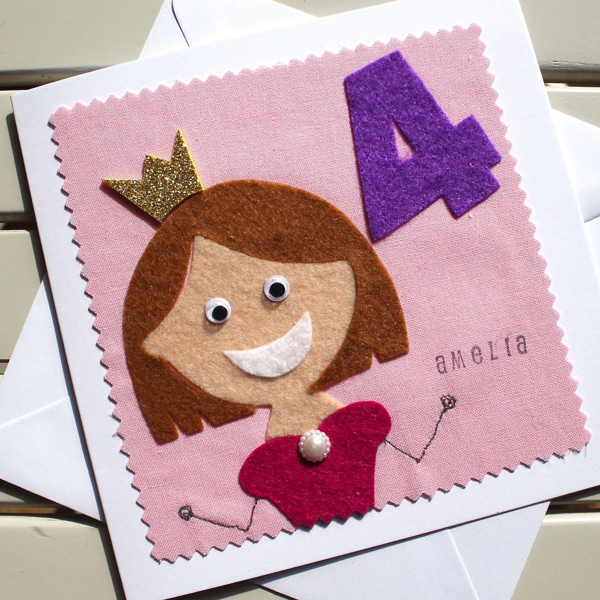 Princess Birthday Card Personalised Card Handmade Etsy Kids Birthday Cards Birthday Cards Personalized Birthday Cards