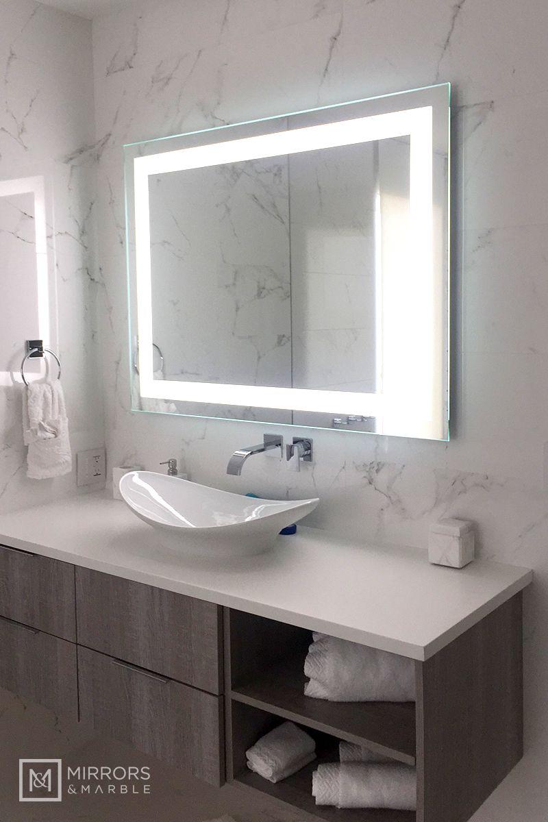 Front Lighted Led Bathroom Vanity Mirror 48 In 2021 Led Mirror Bathroom Small Bathroom Vanities Bathroom Interior Design