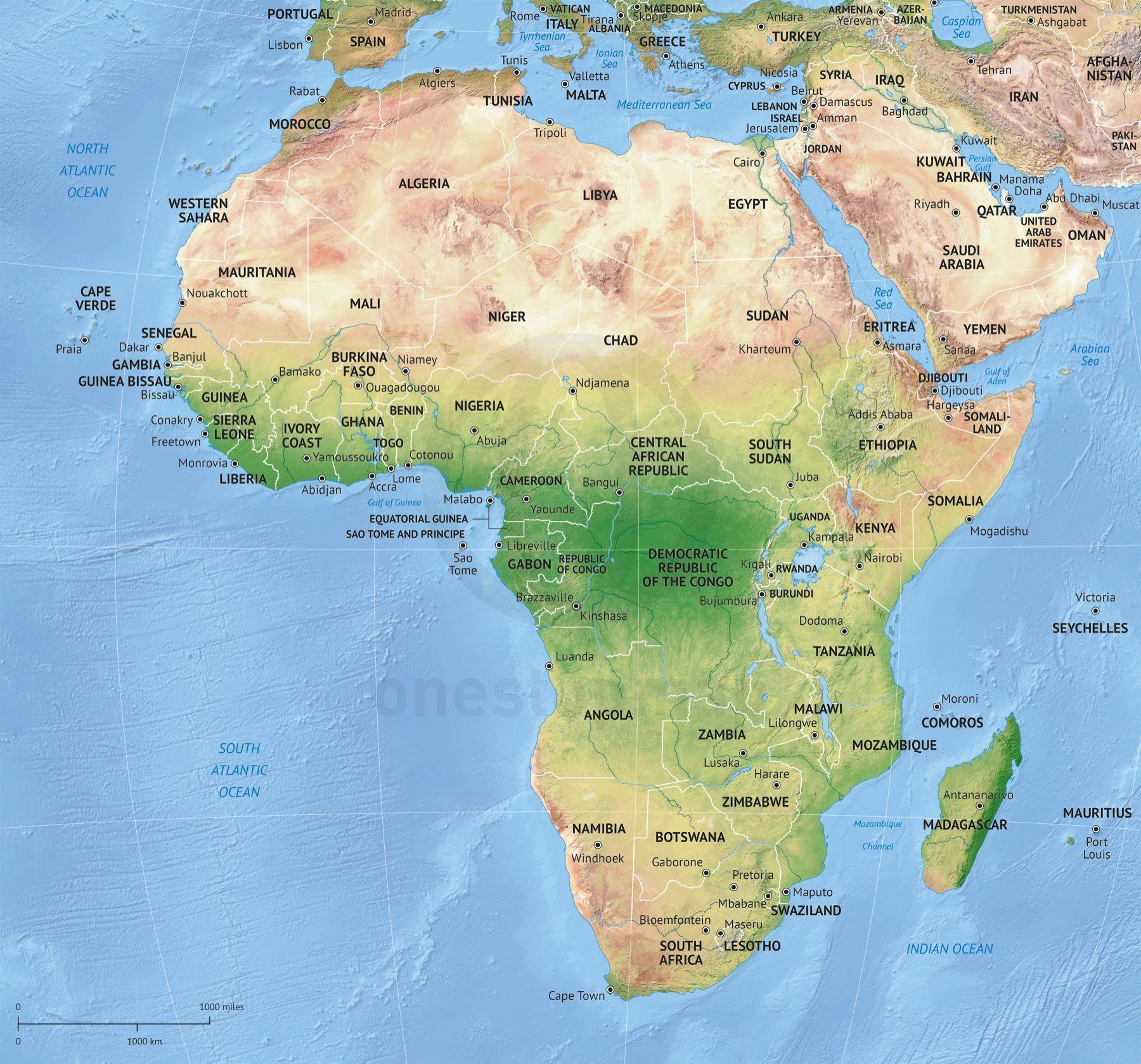 Map Of Africa Continent Political With Shaded Relief