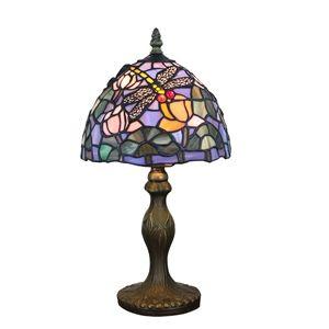 Tiffany Tischlampe D20cm Libellen&Floral Design 1-flammig im Wohnzimmer