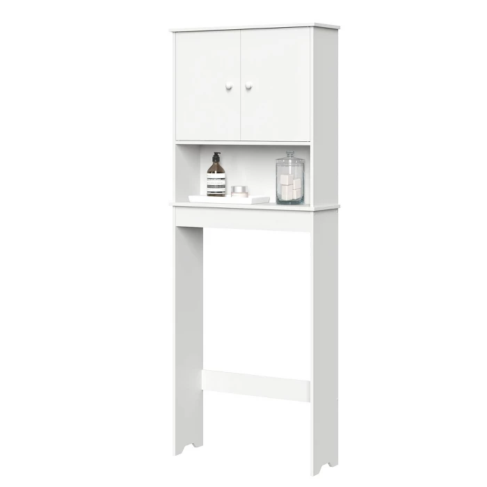 Over Toilet Cabinet With Adjustable Shelf White Riverridge Home Adjustable Shelving Over Toilet Bathroom Furniture Storage
