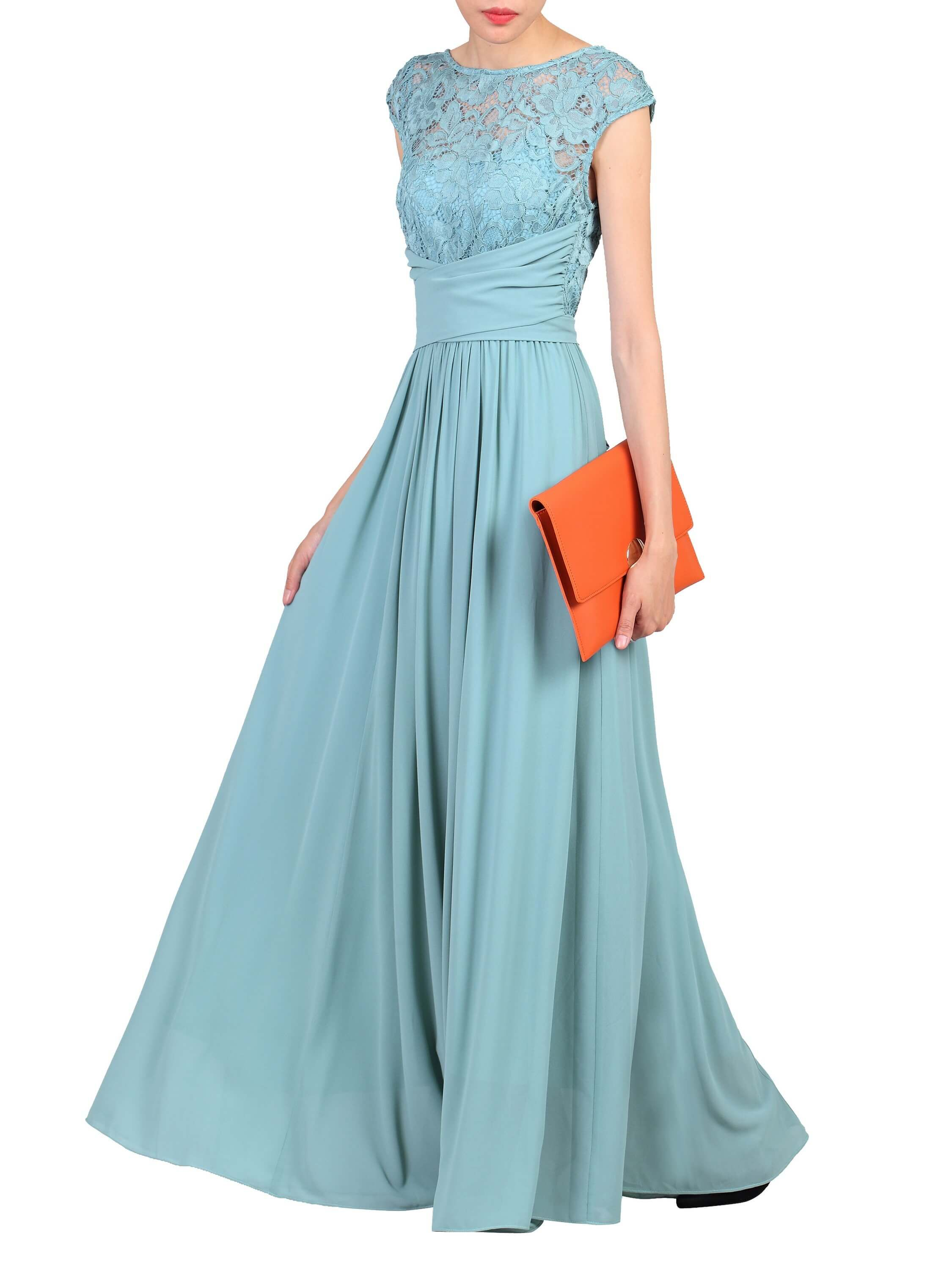 e63433313d2c Lace Bodice Wrap Belt Maxi Dress Duck Egg Blue | Jolie Moi Autumn ...