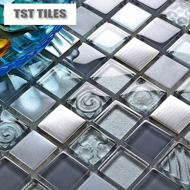 Glass Mosaics Blue Silver Gold Foil Tile Kitchen Backsplash Bathroom Wall Mirror Tiles Shower Tub Entranc Mirror Wall Bathroom Mirror Tiles Mirror Wall Bedroom