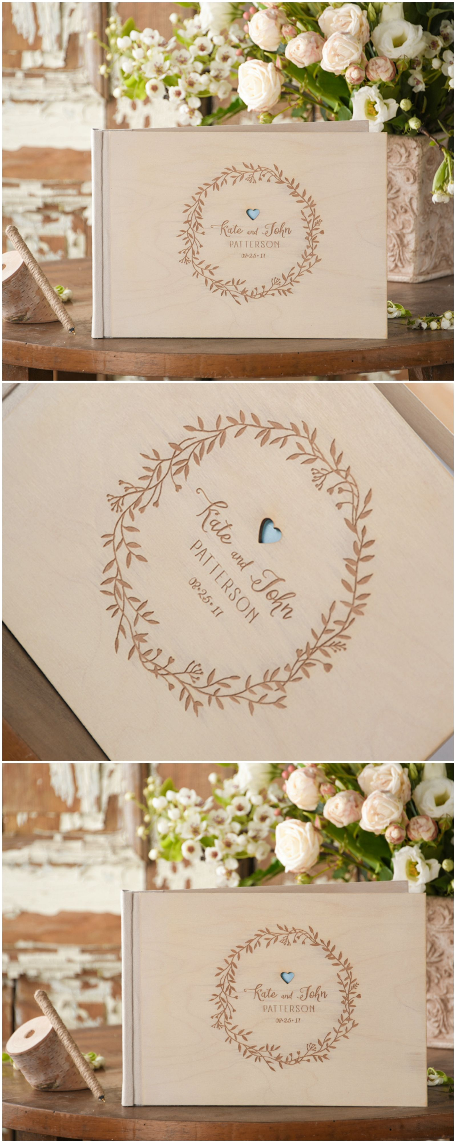 Wedding Wooden Guest Book with custom engraving #wood #rustic #boho ...