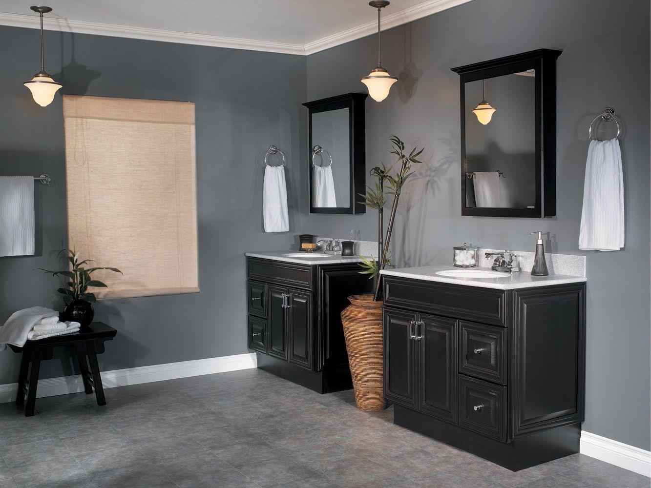 Lattice bathroom two door floor cabinet black