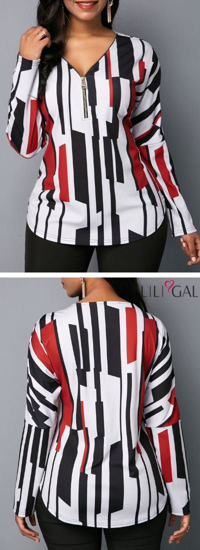 V Neck Zipper Detail Long Sleeve Blouse is part of Clothes Fall Blouses - V Neck Zipper Detail Long Sleeve Blouse on sale only US$26 85 now, buy cheap V Neck Zipper Detail Long Sleeve Blouse at liligal com