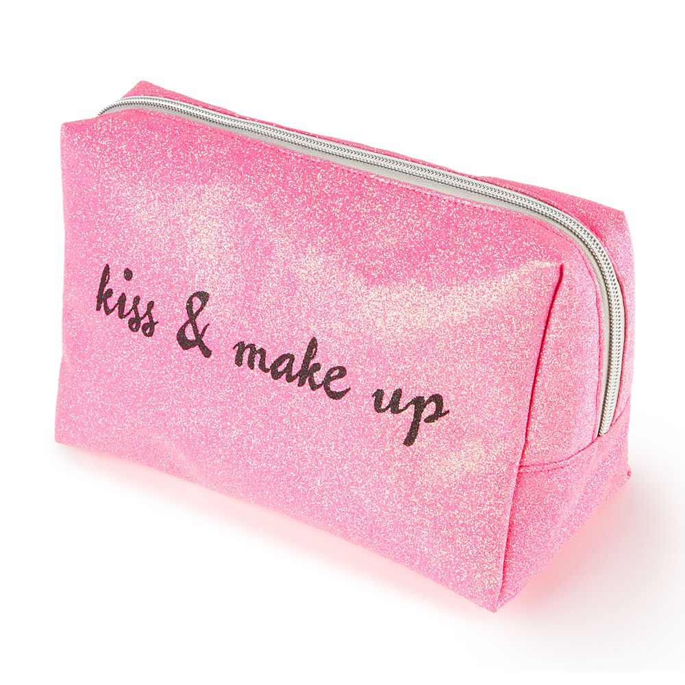 Kiss and Makeup Large Glitter Cosmetic Bag Claire's
