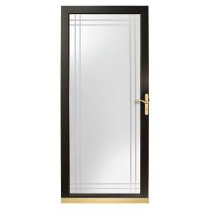 Andersen 3000 series 36 in black full view etched glass for Storm door hinges home depot