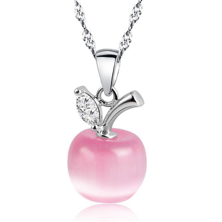 Bella rosa white opal choker apple forma pendenti della collana per le donne di modo catena clavicola apple opale collare donna ragazza