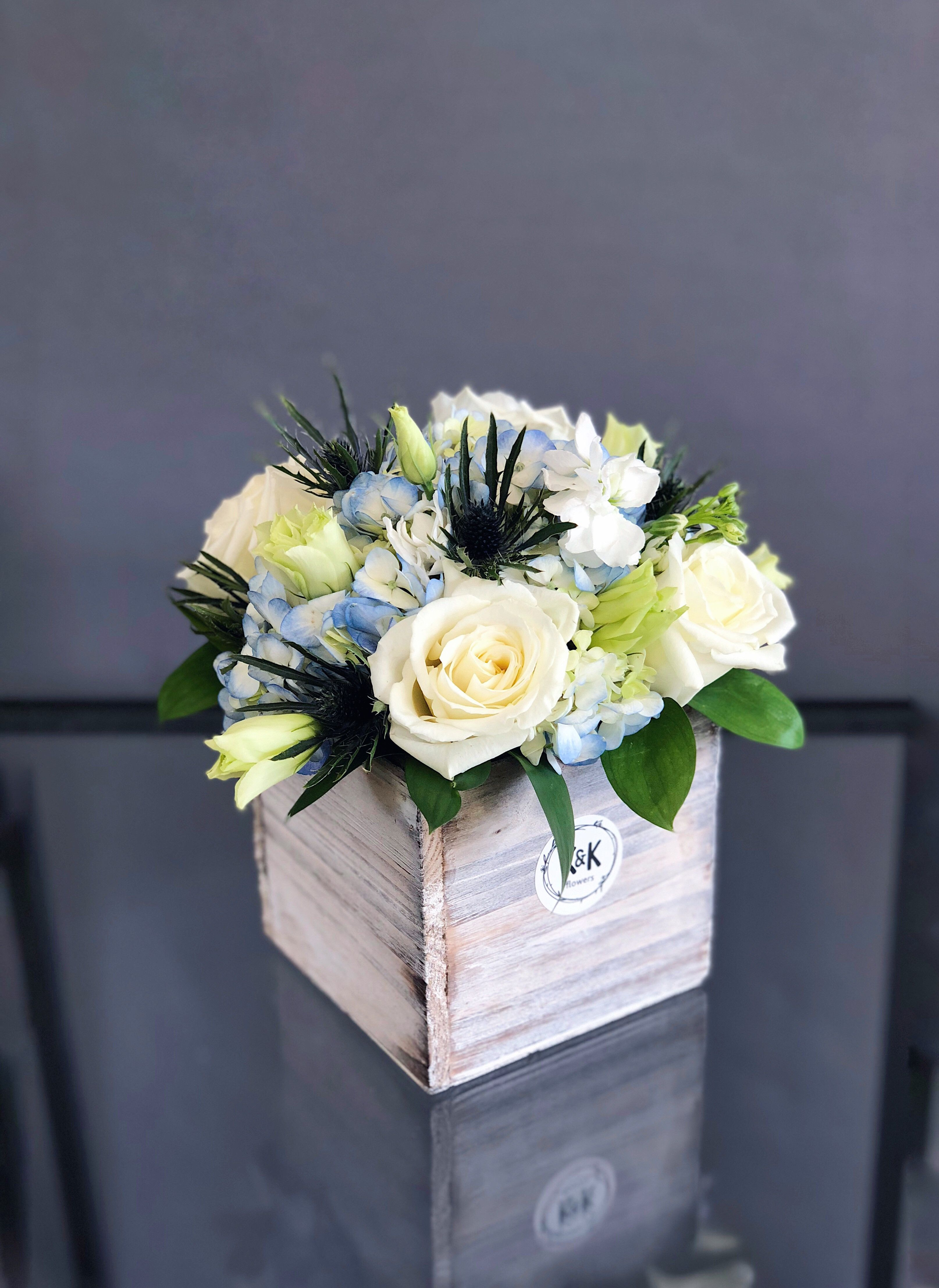 Small Wood Box With White Roses And